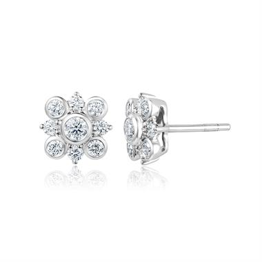 18ct White Gold Diamond Cluster Stud Earrings thumbnail
