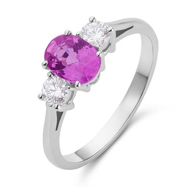 18ct White Gold Pink Sapphire and Diamond Three Stone Ring thumbnail