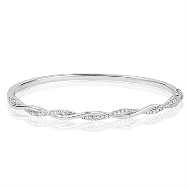 18ct White Gold Diamond Plaited Bangle thumbnail