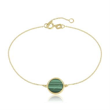 Nova 18ct Yellow Gold Round Malachite Bracelet thumbnail
