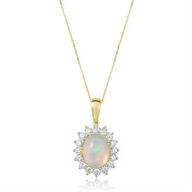 18YG Opal and Diamond Cluster Pendant thumbnail