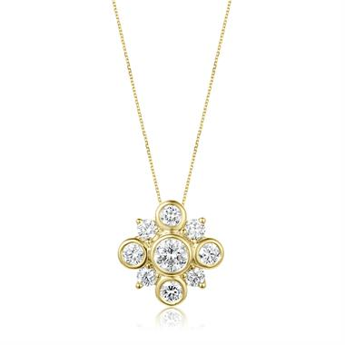 18ct Yellow Gold Diamond Cluster Pendant thumbnail