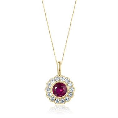 18ct Yellow Gold Ruby and Diamond Cluster Pendant thumbnail