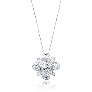 18ct White Gold Diamond Cluster Pendant thumbnail