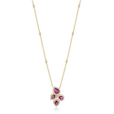 Oriana 18ct Yellow Gold Petal Cluster Ruby and Diamond Halo Necklace thumbnail