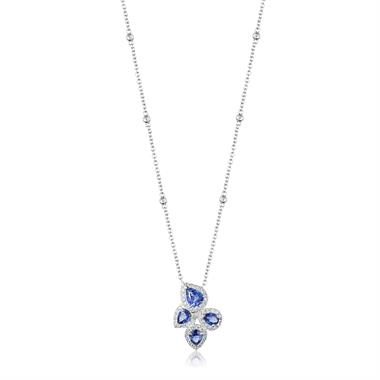 Oriana 18ct White Gold Petal Cluster Sapphire and Diamond Necklace thumbnail