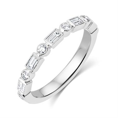Platinum Vintage Style Baguette and Round  Diamond Half Eternity Ring thumbnail