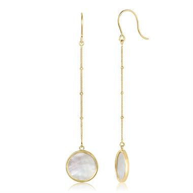 Nova 18ct Yellow Gold Mother of Pearl Drop Earrings thumbnail