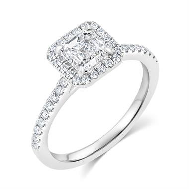 Platinum Asscher Cut Diamond Halo Engagement Ring 1.55ct thumbnail