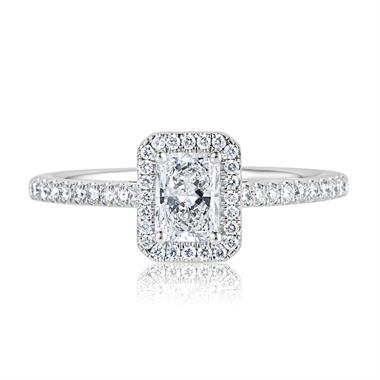 Platinum Radiant Cut Diamond Halo Engagement Ring 0.90ct thumbnail