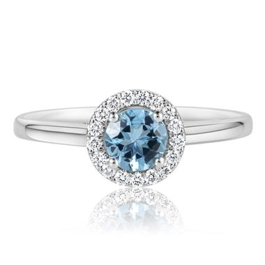 Platinum Aquamarine and Diamond Halo Dress Ring thumbnail