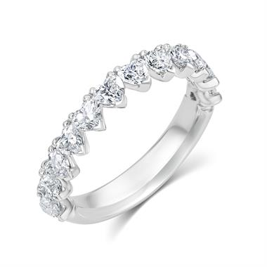 Platinum Heart Shape Diamond Half Eternity Ring 1.35ct thumbnail