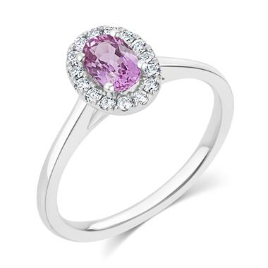 18ct White Gold Pink Sapphire and Diamond Halo Engagement Ring thumbnail