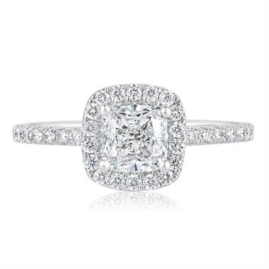 Platinum Cushion Cut Diamond Halo Engagement Ring 1.65ct thumbnail