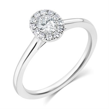 Platinum Oval Diamond Halo Engagement Ring 0.35ct thumbnail
