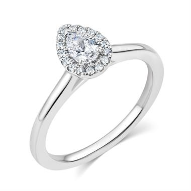 Platinum Pear Shape Diamond Halo Engagement Ring 0.35ct thumbnail