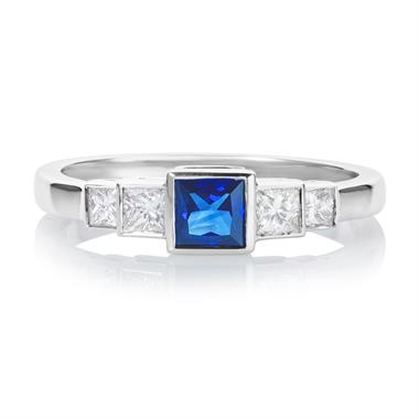 18ct White Gold Princess Cut Sapphire and Diamond Ring thumbnail