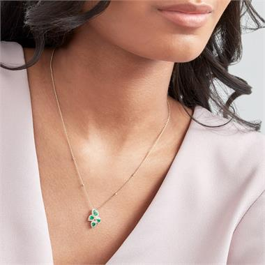 Oriana 18ct Yellow Gold Petal Cluster Emerald and Diamond Necklace thumbnail