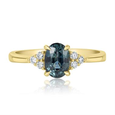 18ct Yellow Gold Oval Teal Sapphire and Diamond Engagement Ring thumbnail