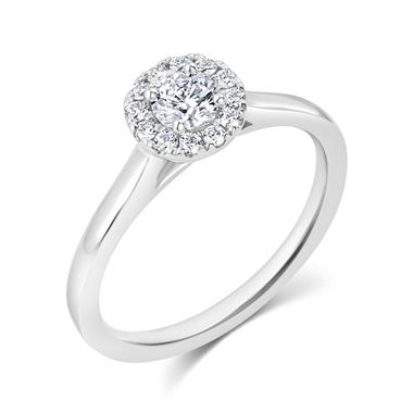 Platinum Round Diamond Halo Engagement Ring 0.40ct thumbnail