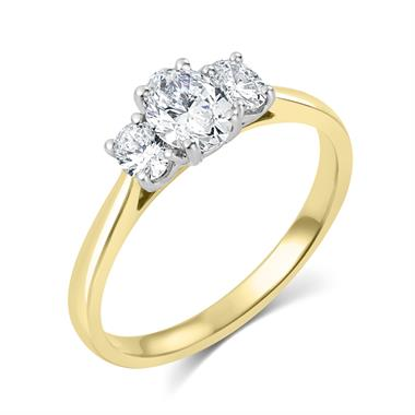 18ct Yellow Gold Oval Diamond Three Stone Engagement Ring 0.58ct thumbnail