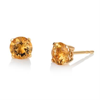 18ct Yellow Gold Citrine Solitaire Stud Earrings thumbnail