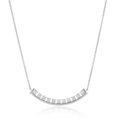 18ct White Gold Checkerboard Design Diamond Necklace