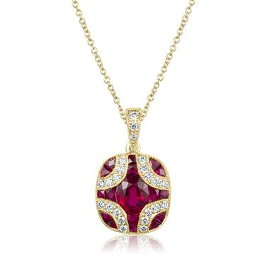 18ct Yellow Gold Vintage Design Ruby and Diamond Pendant thumbnail