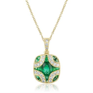 18ct Yellow Gold Vintage Style Emerald and Diamond Pendant thumbnail