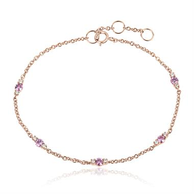 18ct Rose Gold Pink Sapphire And Diamond Station Bracelet thumbnail