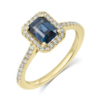 18ct Yellow Gold Emerald Cut Teal Sapphire and Diamond Halo Engagement Ring thumbnail
