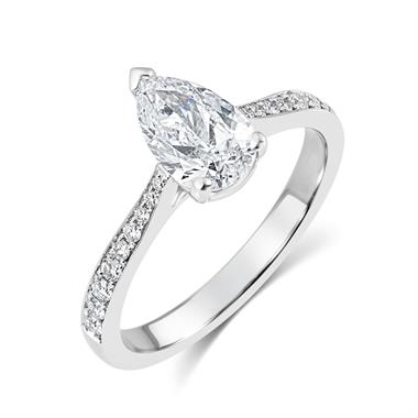 Platinum Pear Shape Diamond Solitaire Engagement Ring 1.15ct thumbnail