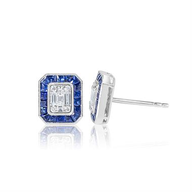 18ct White Gold Vintage Style Diamond and Sapphire Illusion Set Halo Stud Earrings thumbnail