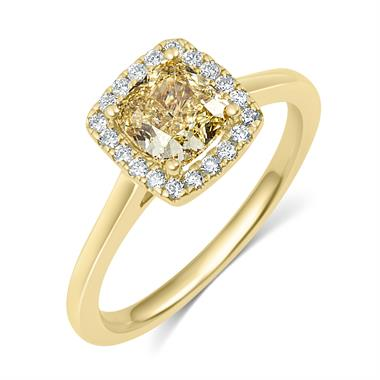 18ct Yellow Gold Cushion Cut Champagne Diamond Halo Engagement Ring thumbnail
