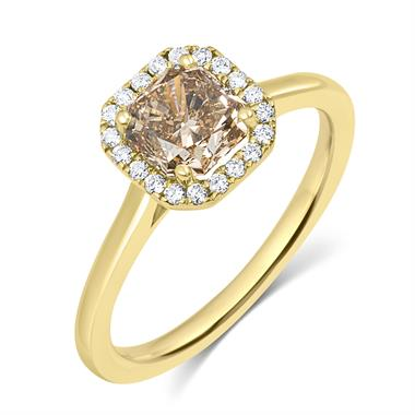 18ct Yellow Gold Radiant Cut Cognac Diamond Halo Engagement Ring thumbnail