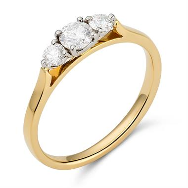 18ct Yellow Gold Diamond Three Stone Engagement Ring 0.50ct thumbnail
