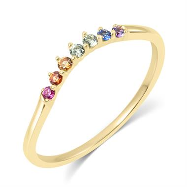 Samba 18ct Yellow Gold Rainbow Sapphire Dress Ring thumbnail
