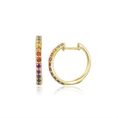 Samba 18ct Yellow Gold Rainbow Sapphire Hoop Earrings thumbnail