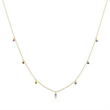 Samba 18ct Yellow Gold Rainbow Sapphire Station Necklace thumbnail