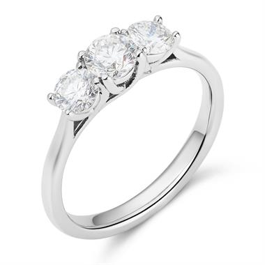 Platinum Diamond Three Stone Engagement Ring 1.00ct thumbnail