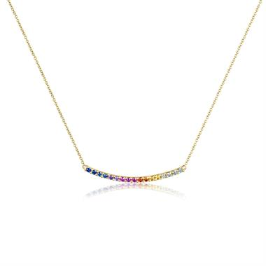 Samba 18ct Yellow Gold Rainbow Sapphire Necklace thumbnail