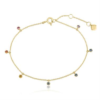 Samba 18ct Yellow Gold Rainbow Sapphire Station Bracelet thumbnail