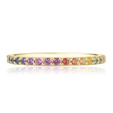 Samba 18ct Yellow Gold Rainbow Sapphire Half Eternity Ring thumbnail