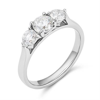 Platinum Diamond Three Stone Engagement Ring 0.90ct thumbnail