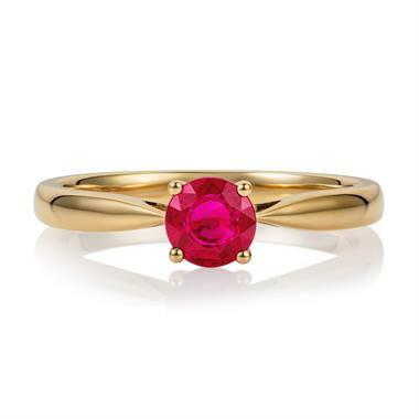 18ct Yellow Gold Ruby Solitaire Engagement Ring thumbnail