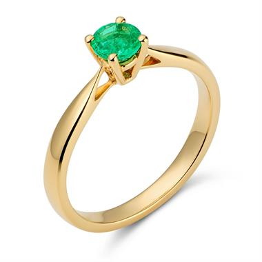 18ct Yellow Gold Classic Emerald Solitaire Ring thumbnail