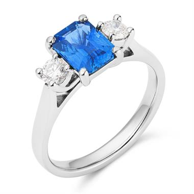 Platinum Emerald Cut Sapphire and Diamond Three Stone Engagement Ring thumbnail