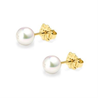 18ct Yellow Gold Akoya AAA Grade Pearl Stud Earrings 6.0mm thumbnail