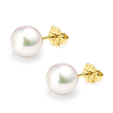 18ct Yellow Gold Akoya AAA Grade Pearl Stud Earrings 8.5mm thumbnail
