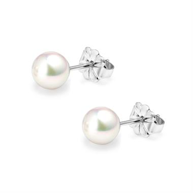 18ct White Gold Akoya AAA Grade Pearl Stud Earrings 6.0mm thumbnail